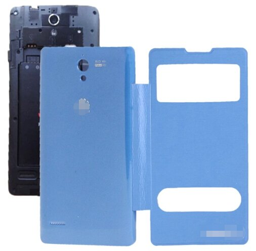 Cloth Texture Horizontal Flip Leather Case + Plastic Back Cover for Huawei Ascend G700 (Blue)