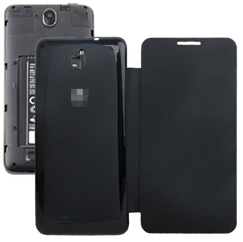 Horizontal Flip Back Cover / Replacement Leather Case for Huawei G606 (Black)