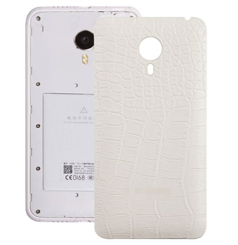 Crocodile Texture Leather Paste Skin Back Cover Replacement for Meizu MX 4(White)