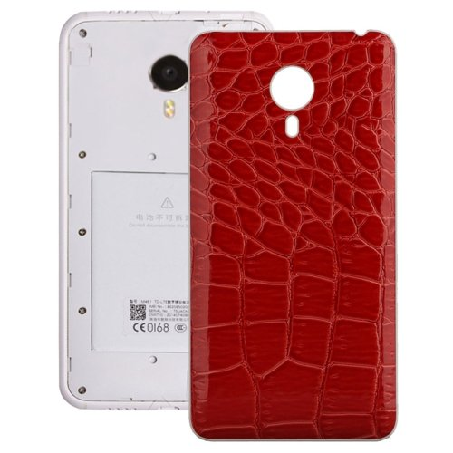 Crocodile Texture Leather Paste Skin Back Cover Replacement for Meizu MX 4(Red)
