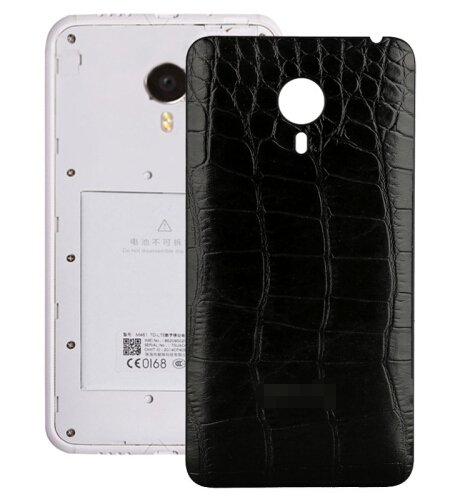 Crocodile Texture Leather Paste Skin Back Cover Replacement for Meizu MX 4(Black)