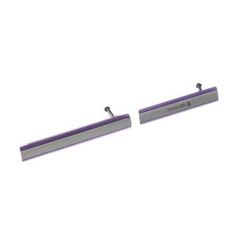 SIM Card Cap + Micro SD Card Cap Dustproof Block Set for Sony Xperia Z2 / L50w(Purple)
