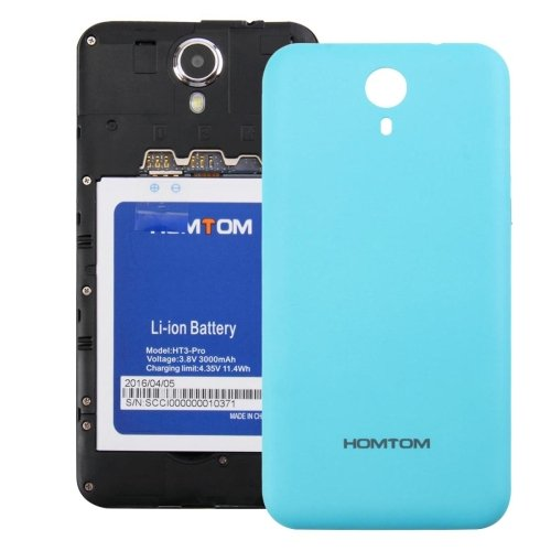 HOMTOM HT3 PRO Battery Back Cover with Side Button(Blue)