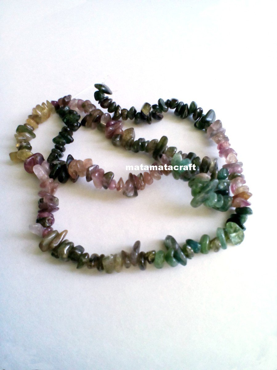 "tourmaline gemstone gravel chips multi colors small tiny beads irregular shaped 1 strand 15"" 400mm"