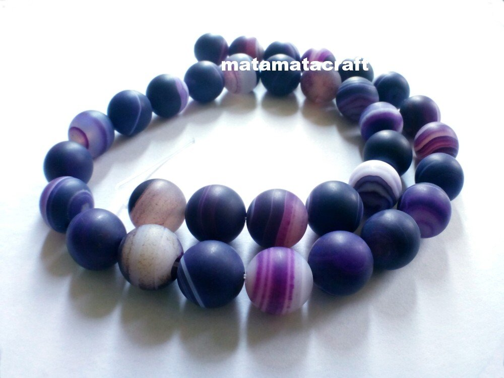 """Natural agate, chalcedony beads, purple dream, striped banded matted, 10mm 2/5"""", jewelry making"""