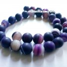 "Natural agate, chalcedony beads, purple dream, striped banded matted, 10mm 2/5"", jewelry making"