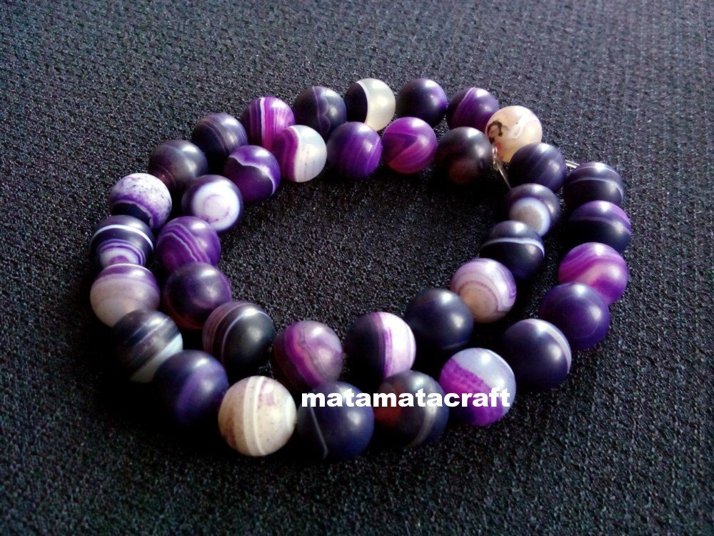 "Natural matted agate chalcedony beads, purple dream, striped banded, 12mm 1/2"", jewelry making"