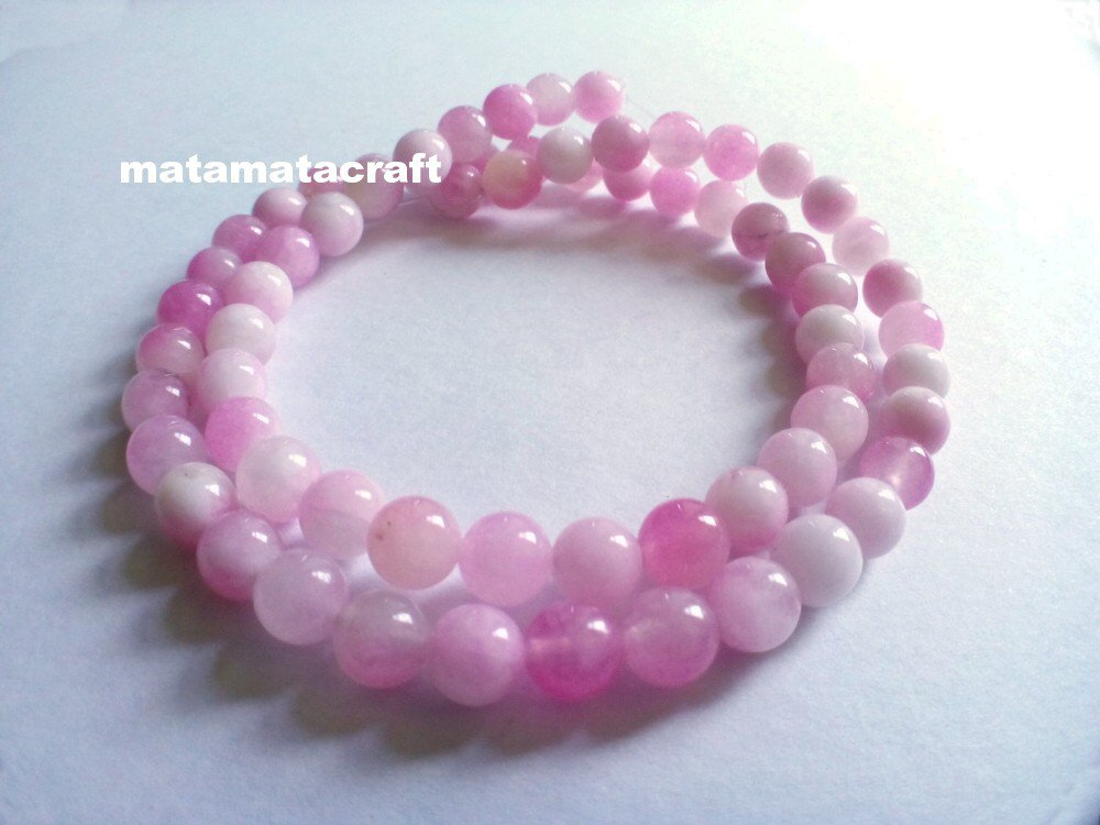 "Natural chalcedony jade, pink and white beads, 6mm 1/5"", jewelry making, 1 strand 15"" 390mm"
