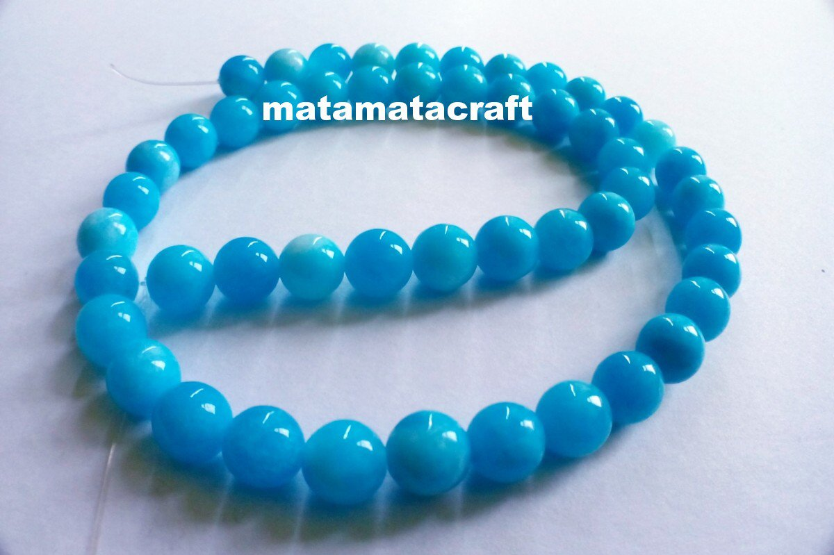 """1 strand sea blue natural chalcedony jade quartz beads, 8mm 3/10"""", for jewelry making"""