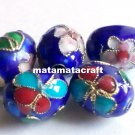 5 pcs vintage retro style cloisonne enamel oval drum shaped beads spacer dark blue