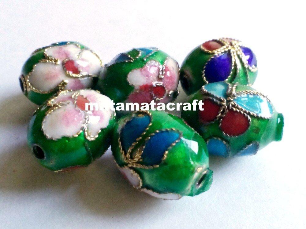 5 pcs vintage retro style cloisonne enamel oval drum shaped beads spacer green