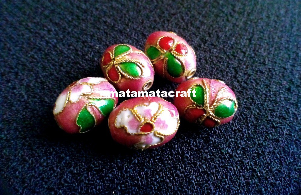 5 pcs vintage retro style cloisonne enamel oval drum shaped beads spacer pink