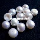 "Flat bottom dome shaped freshwater pearl beads, off white, 10 mm 2/5"" for jewellery making"