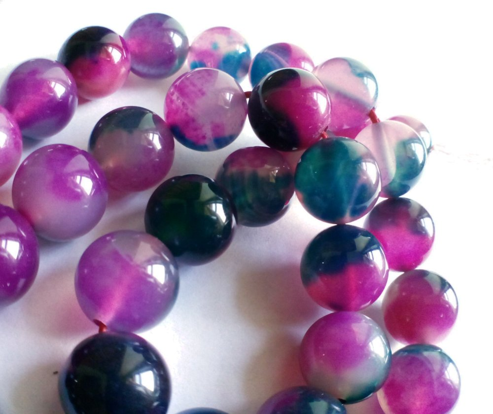 "natural agate beads watermelon green and red colored 8 mm 3/10"" for jewelry making"