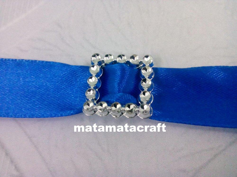 "20 pcs acrylic plastic square ribbon buckle slide about 20 mm 4/5"" silver color"