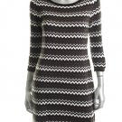 Calvin Klein Sweater Dress Large NWT Black, Brown and White Chevron MSRP $118
