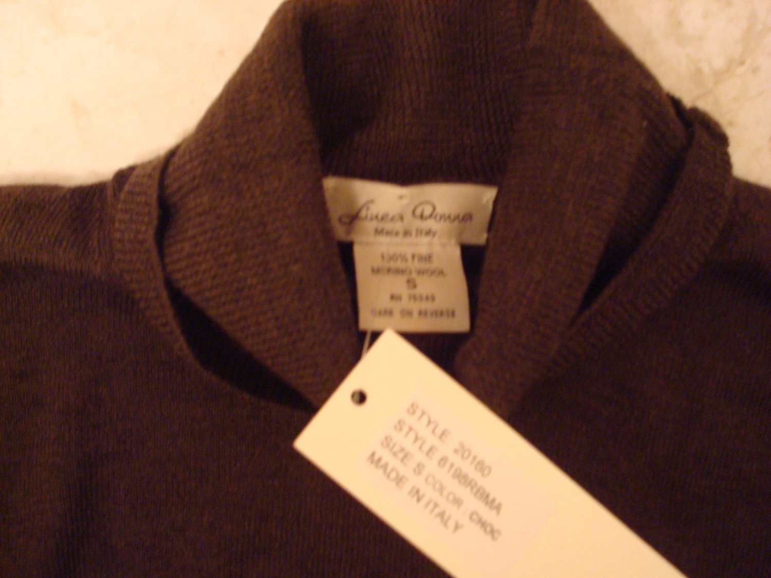 Small Brown Merino Wool Turtleneck Sweater NWT MSRP $99 Made in Italy