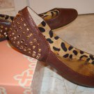 Gianni Bini 8 .5 M Brown Leather Flats Shoes NIB