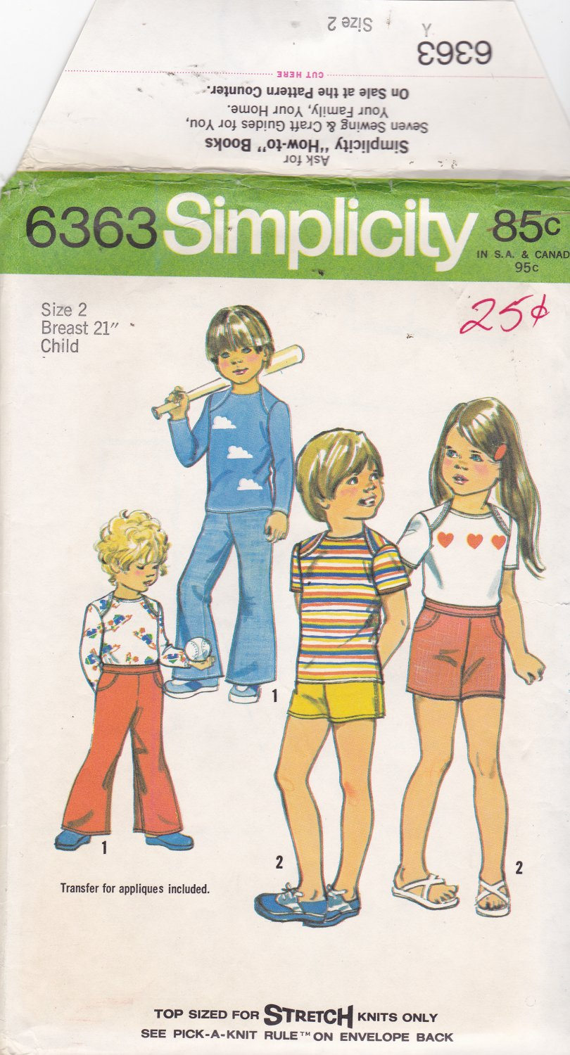Simplicity 6363 Girls Boys Children Toddlers Size 2, may be missing pieces