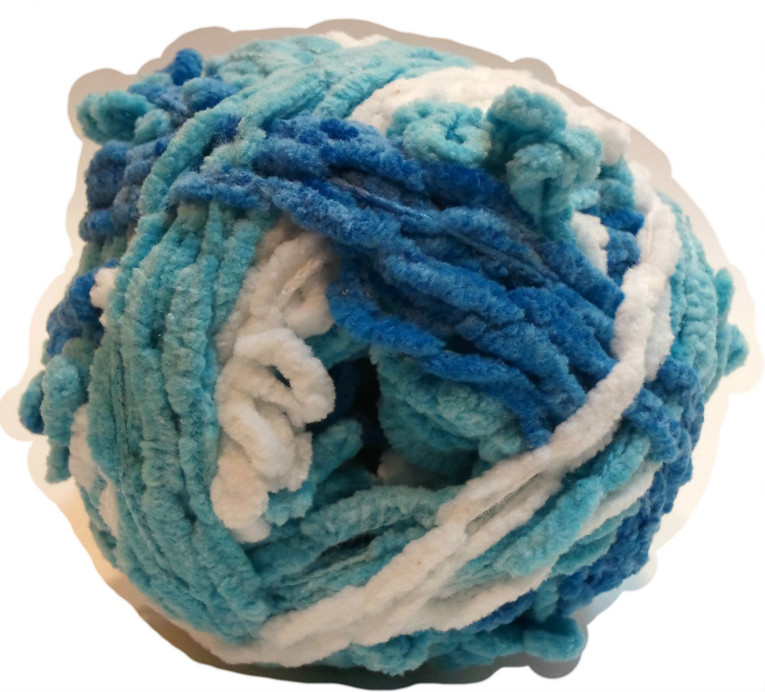 Lolli Loopy Chenille Yarn Icing 9989 Red Heart 3.5 ounces 80 yards Super Bulky 6 Blue Aqua White