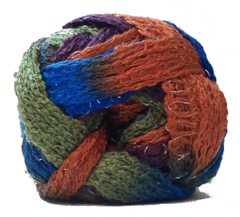 Sashay Yarn 3.5 oz Disco 1950 Super Bulky 6 Ruffle Scarf Yarn Blue Green Orange Rust Sparkly