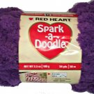 Spark A Doodle Yarn Red Heart 3.5 ounces 54 yards Purple Iced Grape 9540 Super Bulky 6 Pom Pom