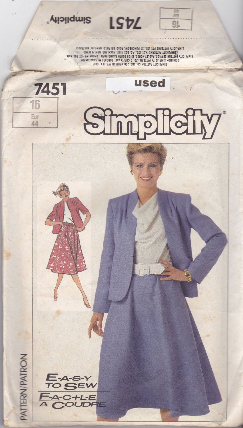 Simplicity 7451 size 16, may be missing pieces
