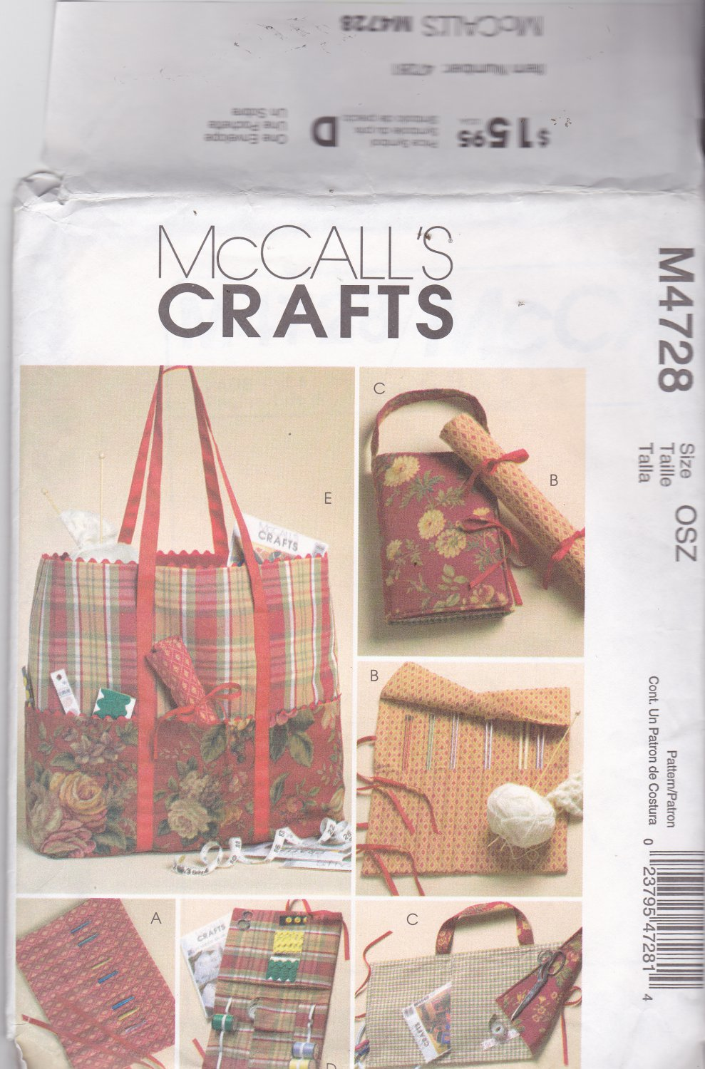 McCall's Crafts M4728 4728 Sewing Knitting Craft Organizer Bags Uncut FF