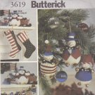 Butterick 3619 Pattern Uncut FF Snowman Patriotic American Flag Christmas Decorations
