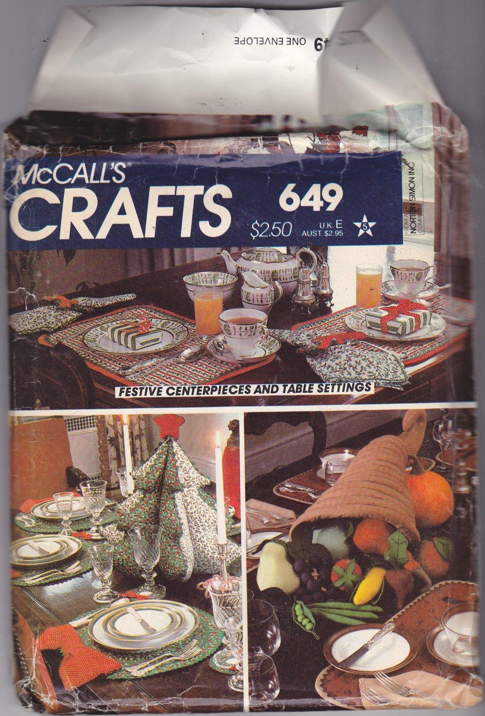 McCall's Crafts 649 Holiday Table Decor Plush Fruits Vegetables Cornucopia  Christmas Tree Uncut FF
