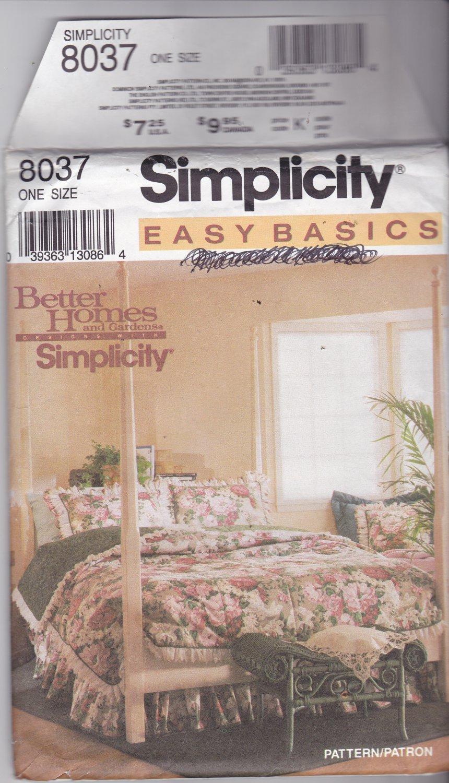Simplicity 8037 Easy Basics Bedding Pattern Comforter Duvet Cover Dust Ruffle Shams Uncut FF
