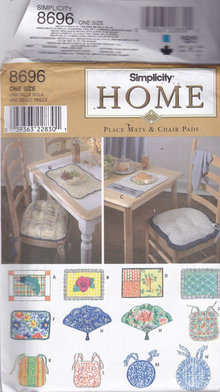 Simplicity 8696 pattern Home Decor Place Mats Chair Pads Uncut FF