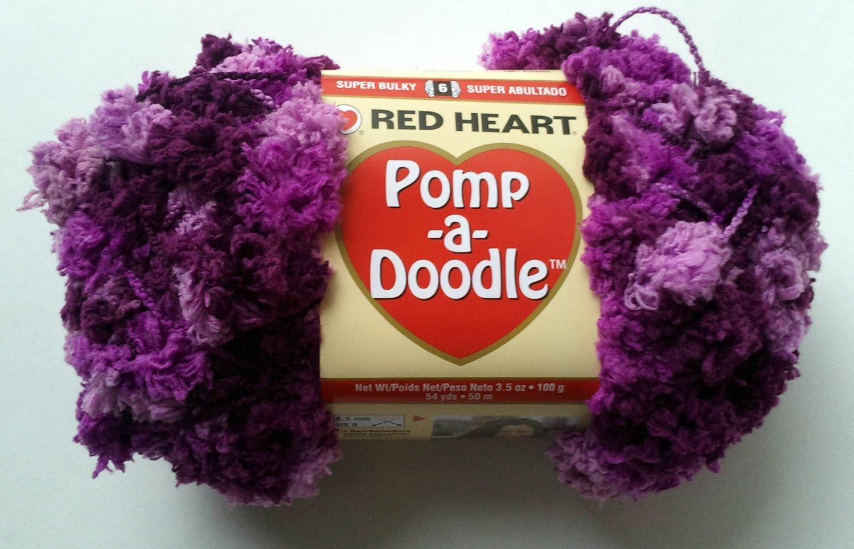 Pomp A Doodle Yarn Red Heart 3.5 ounces 54 yards Plush Plum 9030 Super Bulky 6 Pom Pom Purple