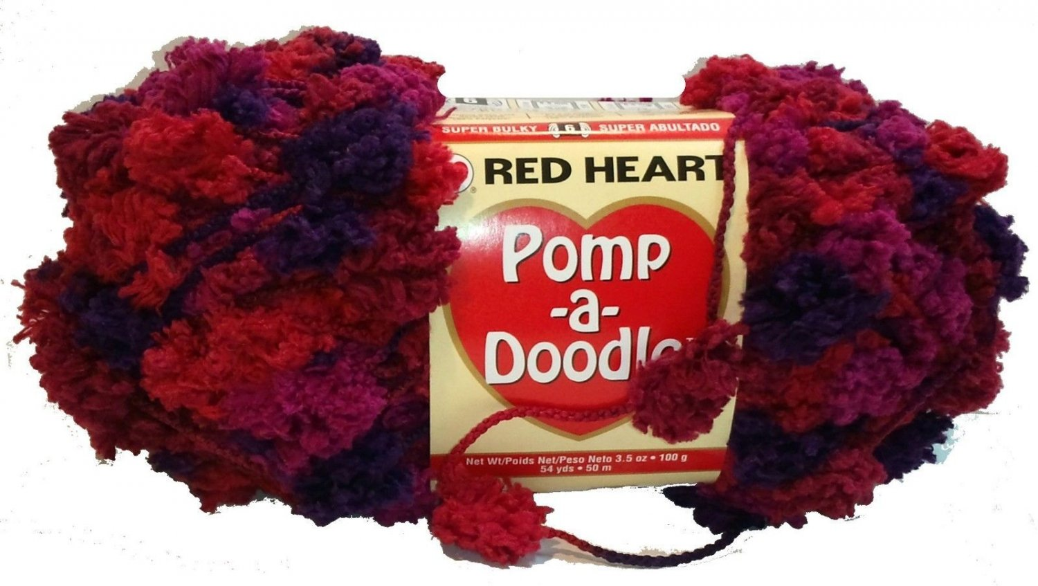 Pomp A Doodle Yarn Red Heart 3.5 ounces 54 yards GrapeBerry 9544 Super Bulky 6 Pom Pom Red Hot Pink