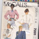 McCall's 7281 Pattern Uncut FF 10 Bust 32.5 Long Sleeve Blouses Tucks Gathers Jabot Cuffs