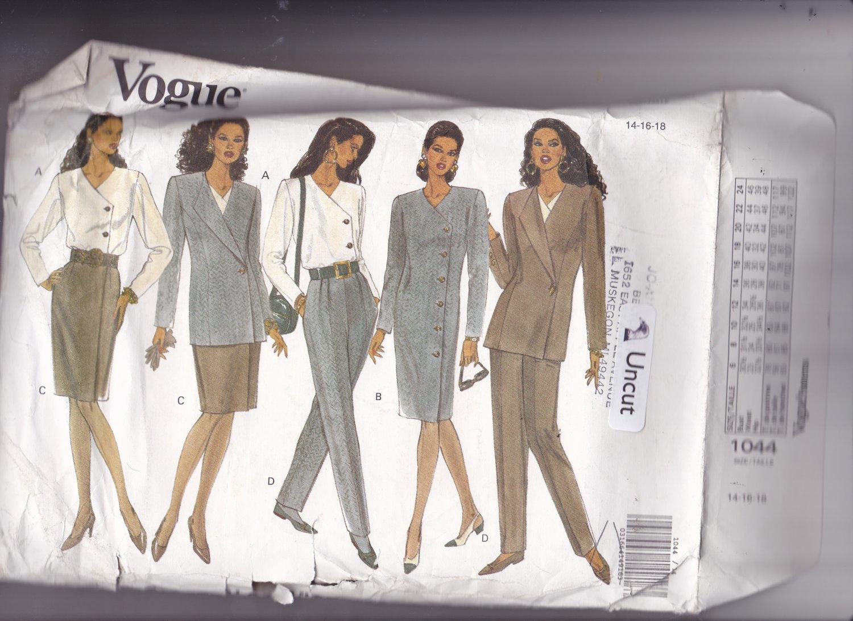 Vogue 1044 Pattern Uncut FF 14 16 18 Lined Asymmetrical Jacket Dress Skirt Tapered Pants