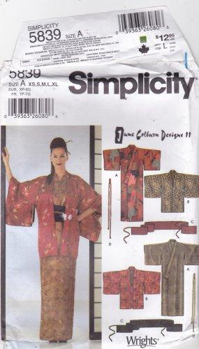 Simplicity 5839 Kimono Haori Sash Tie Pattern June Colburn XS S M L ...