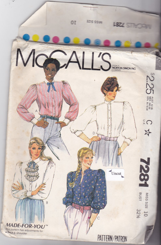 McCall's 7281 Pattern Uncut 10 Bust 32.5 Long Sleeve Blouses Tucks Gathers Jabot Cuffs Neckband