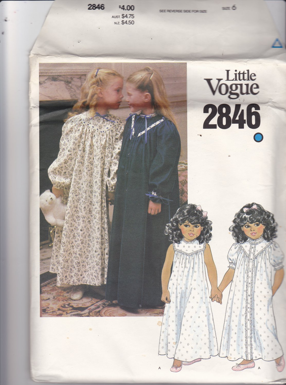 Little Vogue 2846 Pattern Uncut FF Girls size 6 Night Gown and Robe Sleepwear