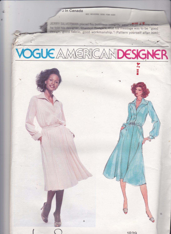 Vogue 1829 Pattern Uncut FF 14 American Designer Jerry Silverman Shirtwaist Dress