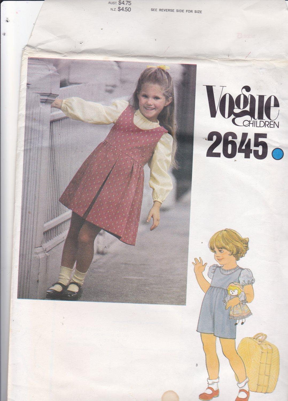 Vogue Children 2645 Pattern Uncut FF Girls size 5 Jumper Jumpsuit Pullover Blouse