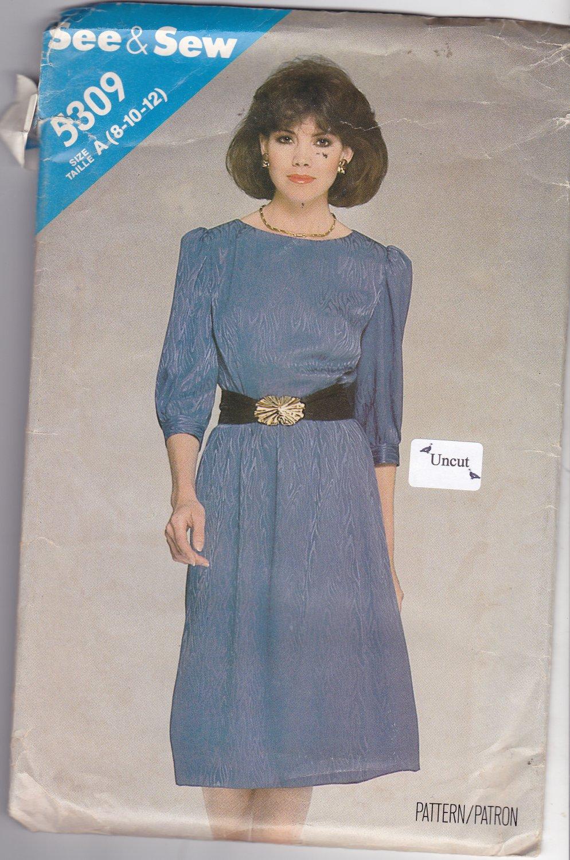 Butterick See & Sew 5309 Pattern Uncut 8 10 12 Mock Wrap Dress Puffy Sleeves Button Cuffs