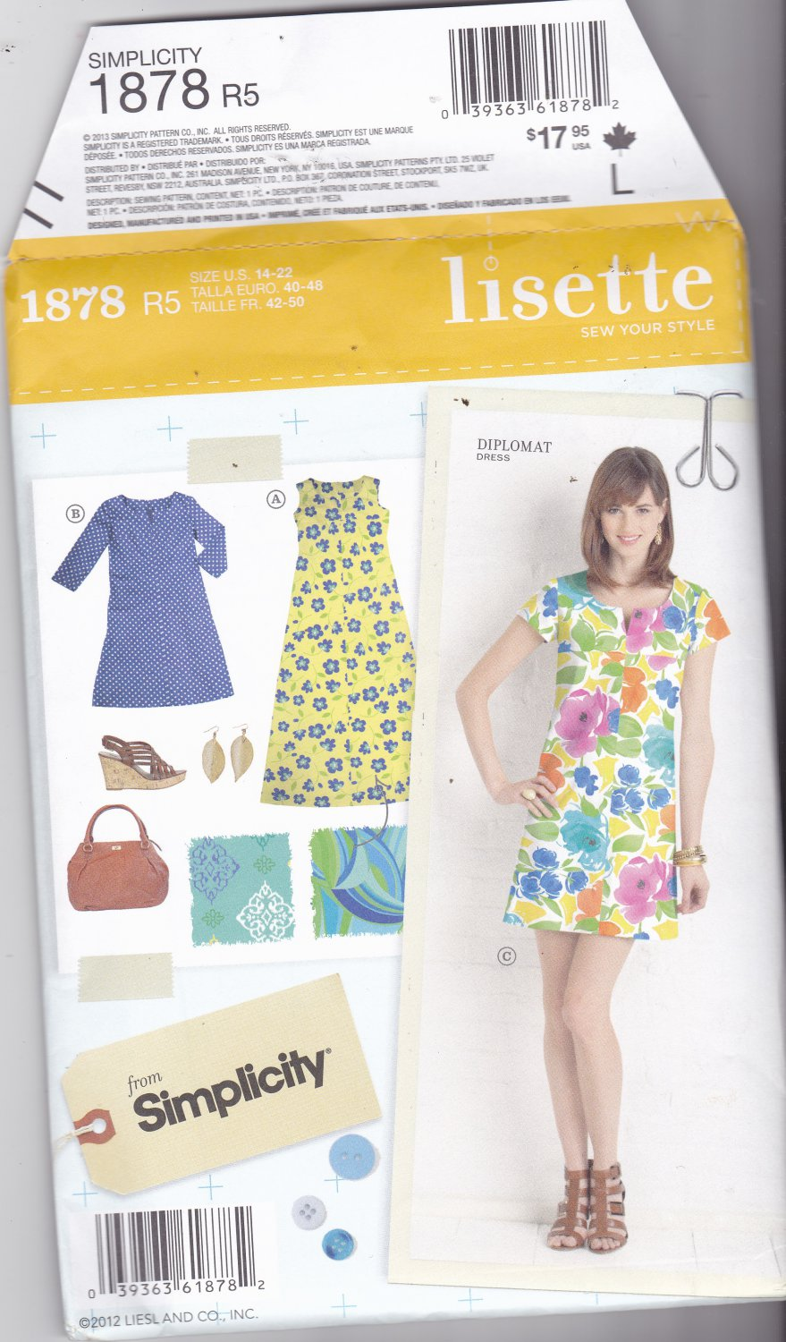 Simplicity 1878 Pattern Uncut FF 14 16 18 20 22 plus Lisette Diplomat Dress Mini Maxi