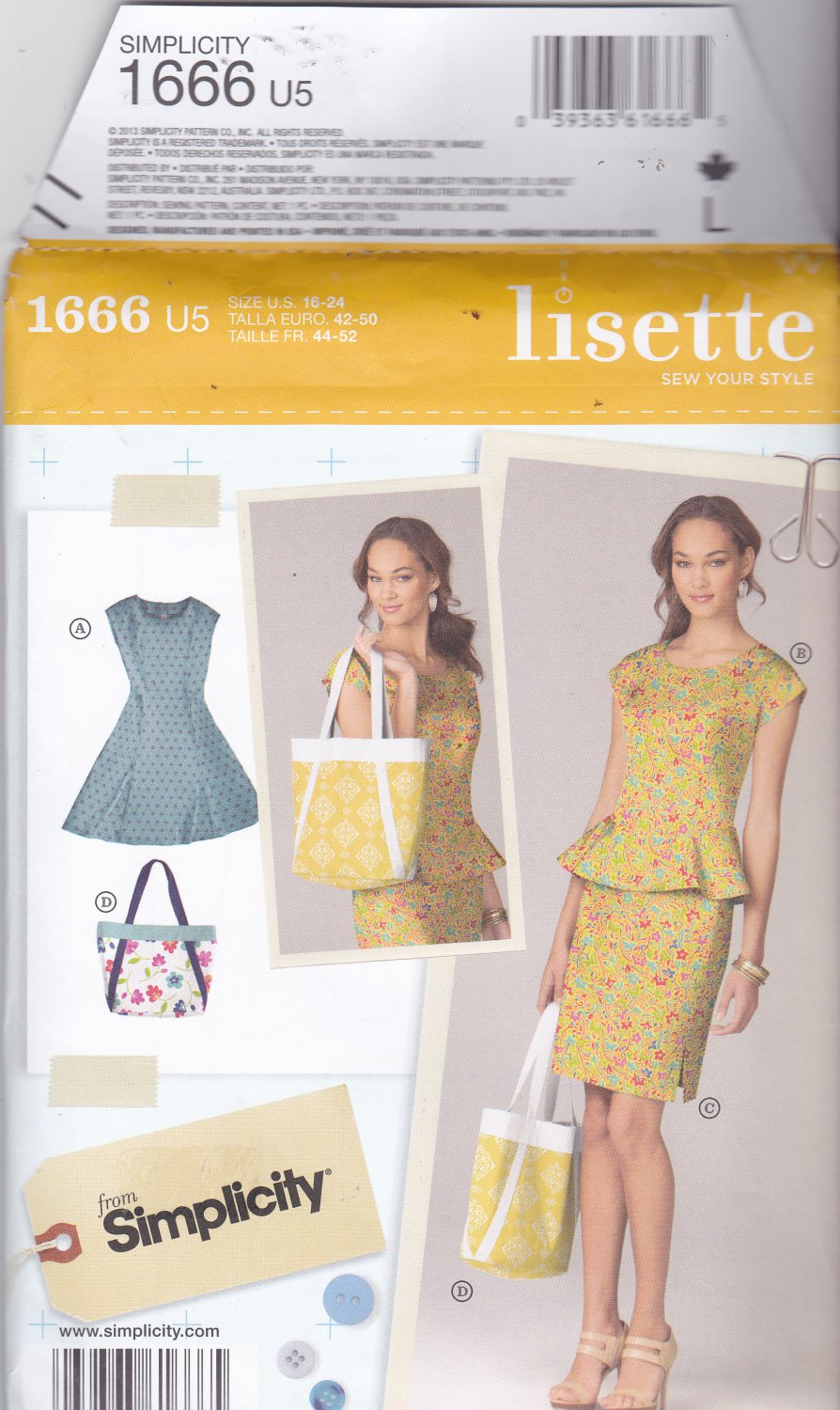 Simplicity 1666 Pattern Uncut FF 16 18 20 22 24 plus Lisette Dress Peplum Top Skirt Bag