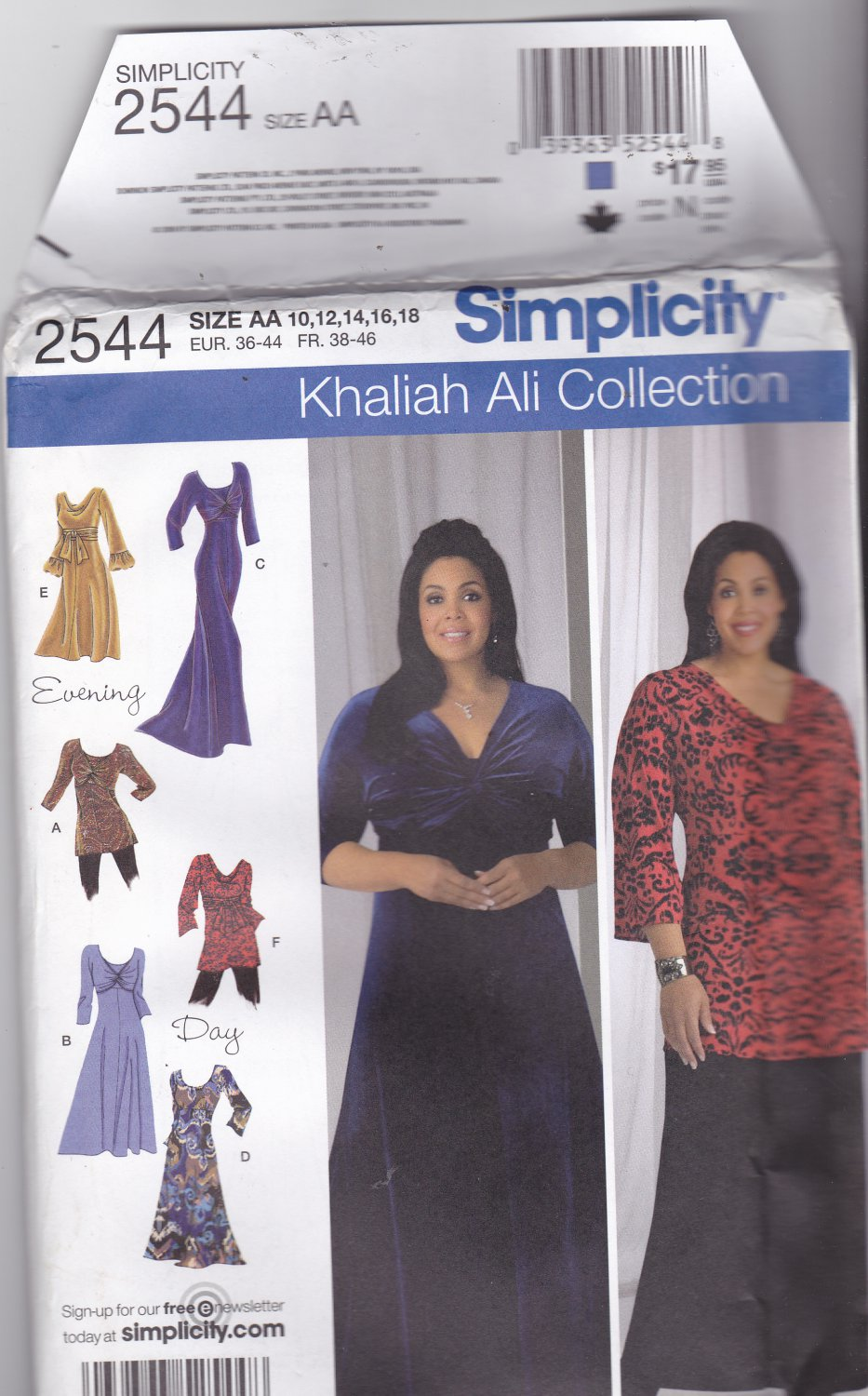 Simplicity 2544 Pattern Uncut FF 10 12 14 16 18 Khaliah Ali Knit Dress Tunic