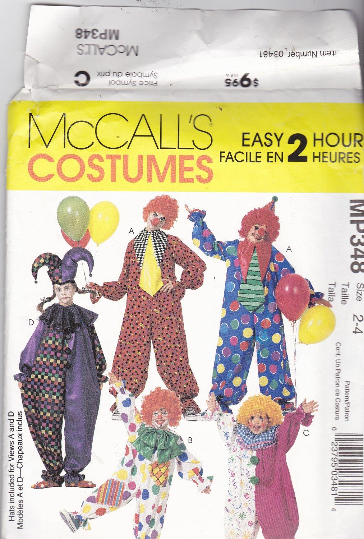 McCall Costume MP348 Pattern Uncut FF Girls Boys size 2 3 4 Toddler Clown Jester