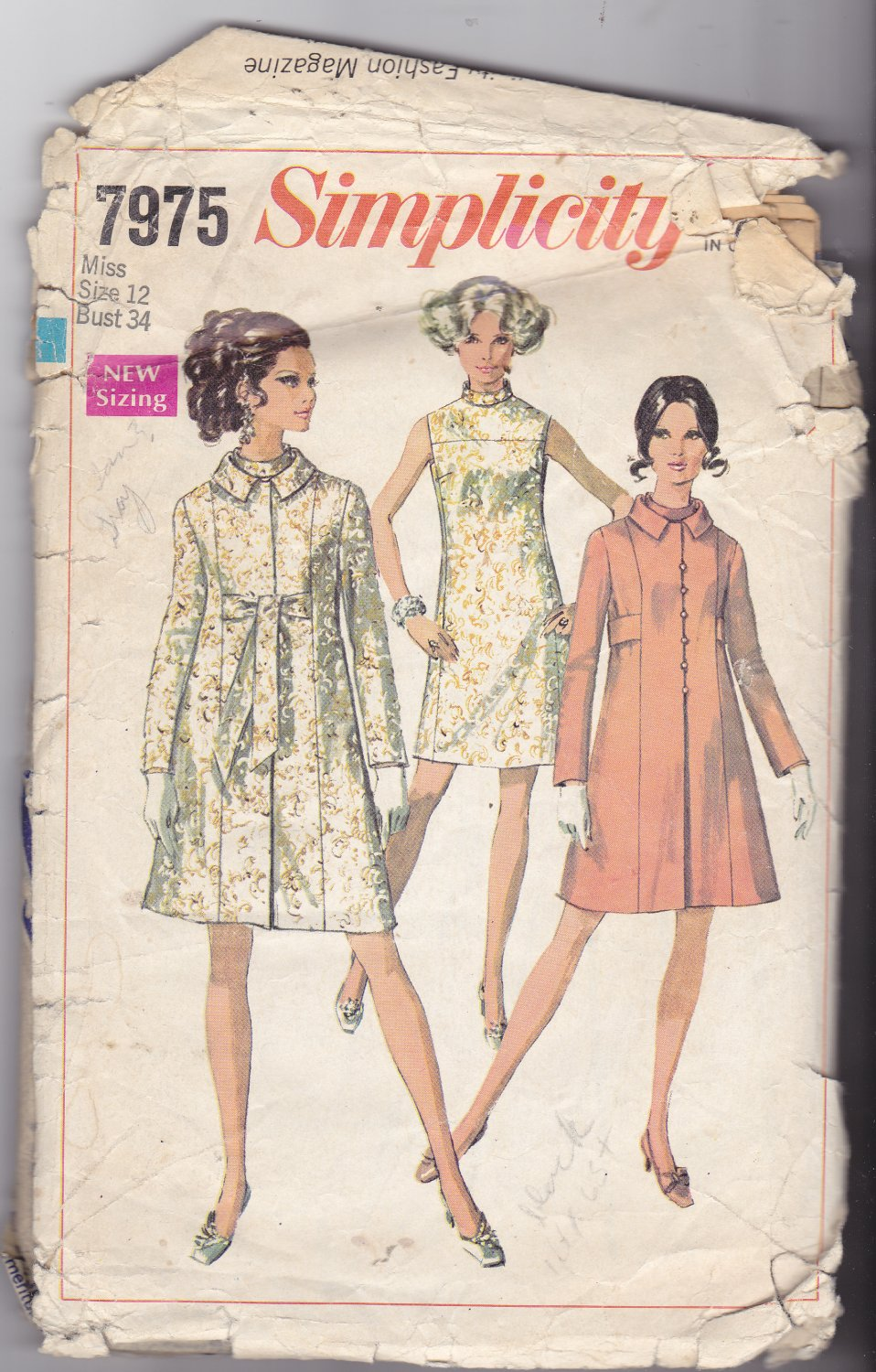Simplicity 7975 Dress Coat 12, may be missing pieces, 50 cents plus shipping