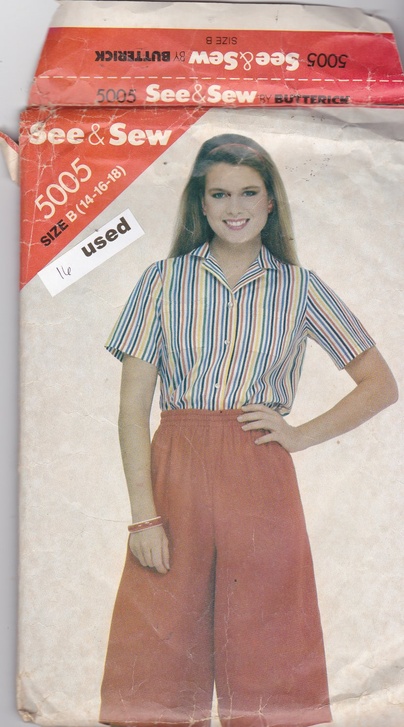 Butterick See and Sew 5005 size 16, may be missing pieces, 50 cents plus shipping