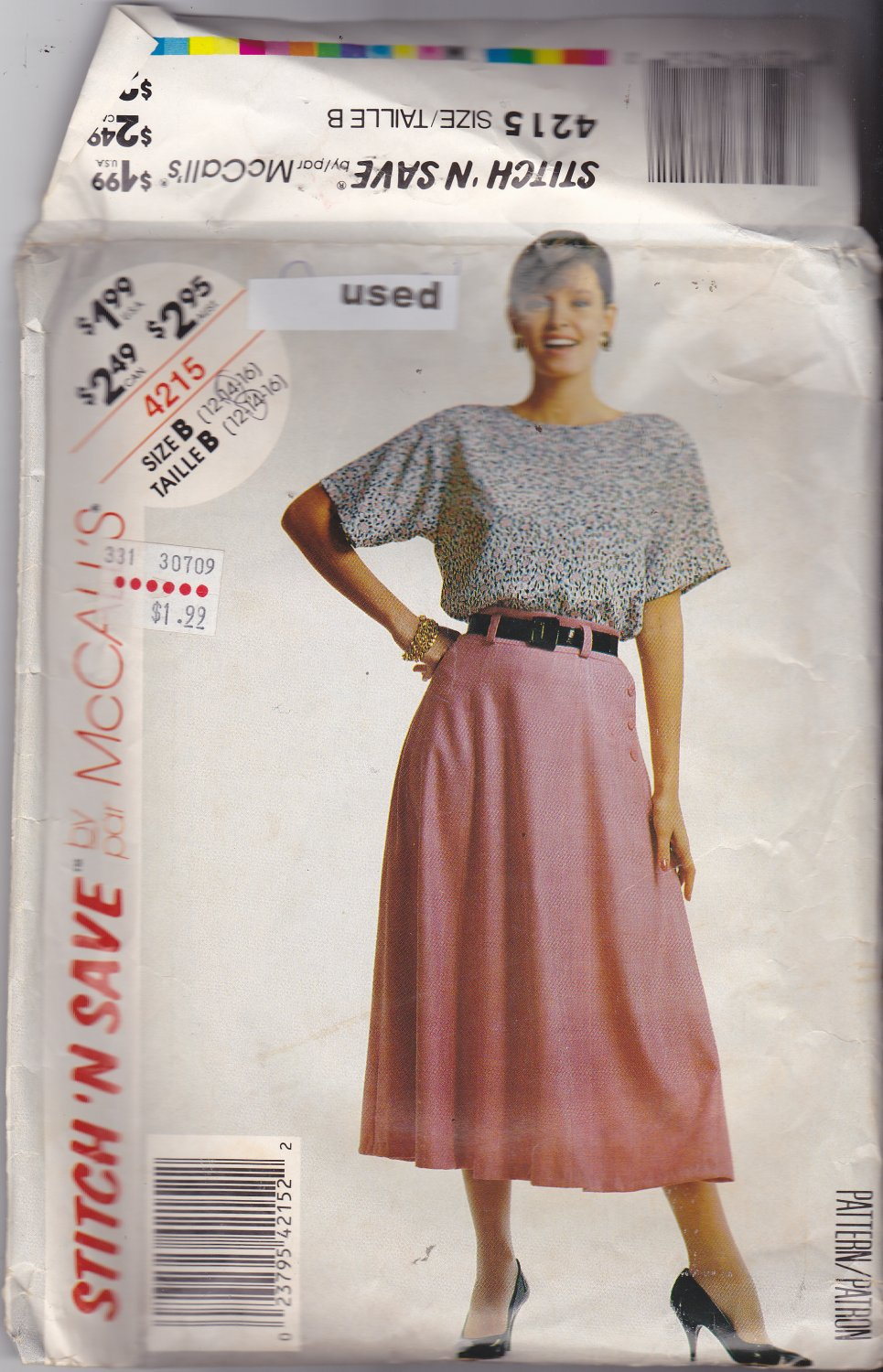McCall's Stitch N Save 4215 size 14, may be missing pieces, 50 cents plus shipping