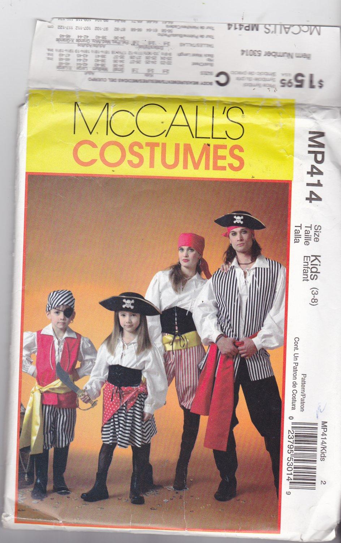 McCall MP414 Pattern Uncut FF Girls Boys size 3 4 5 6 7 8 Pirate Costume